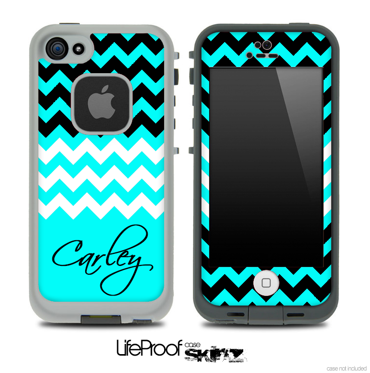 Trendy Blue/White and Black Chevron with Your Name Custom Skin for the iPhone 5 or 4/4s LifeProof Case