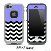 Purple Black and White Chevron Pattern V3 Skin for the iPhone 5 or 4/4s LifeProof Case