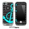 Black/Gray Chevron and Turquoise Anchor Skin for the iPhone 5 or 4/4s LifeProof Case