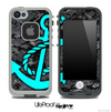 Digital Camouflage V4 Print and Turquoise Anchor Skin for the iPhone 5 or 4/4s LifeProof Case