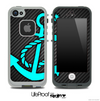 Carbon Fiber Print and Turquoise Anchor Skin for the iPhone 5 or 4/4s LifeProof Case