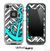 Sketch Chevron Black and White Print and Turquoise Anchor Skin for the iPhone 5 or 4/4s LifeProof Case