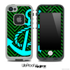 Green/Black Colored Chevron and Turquoise Anchor Skin for the iPhone 5 or 4/4s LifeProof Case