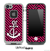 Pink/Black Colored Chevron and White Anchor V2 Skin for the iPhone 5 or 4/4s LifeProof Case
