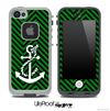 Green/Black Colored Chevron and White Anchor V2 Skin for the iPhone 5 or 4/4s LifeProof Case