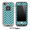 Sketchy Chevron Pattern Black and Trendy Blue Skin for the iPhone 5 or 4/4s LifeProof Case