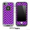 Sketchy Chevron Pattern Black and Hot Purple Skin for the iPhone 5 or 4/4s LifeProof Case