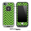 Sketchy Chevron Pattern Black and Subtle Green Skin for the iPhone 5 or 4/4s LifeProof Case