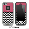 Solid Color Dark Pink and Chevron Pattern Skin for the iPhone 5 or 4/4s LifeProof Case