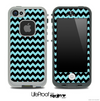 V4 Chevron Pattern Black and Turquoise Skin for the iPhone 5 or 4/4s LifeProof Case