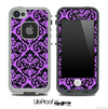 Delicate Pattern Black and Purple Skin for the iPhone 5 or 4/4s LifeProof Case