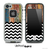 Mixed Aged Color Wood and Chevron Pattern Skin for the iPhone 5 or 4/4s LifeProof Case
