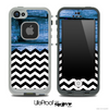 Mixed Blue Wood and Chevron Pattern Skin for the iPhone 5 or 4/4s LifeProof Case