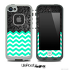 Mixed Dark Black Floral Lace and Trendy Green Chevron Pattern Skin for the iPhone 5 or 4/4s LifeProof Case