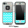 Mixed Colorful Dotted and Turquoise Chevron Pattern Skin for the iPhone 5 or 4/4s LifeProof Case