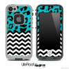 Mixed Neon Turquoise Cheetah and Chevron Pattern Skin for the iPhone 5 or 4/4s LifeProof Case