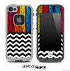 Mixed Neon Color Wood and Chevron Pattern Skin for the iPhone 5 or 4/4s LifeProof Case