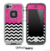 Mixed Pink Sparkled Print and Chevron Pattern Skin for the iPhone 5 or 4/4s LifeProof Case