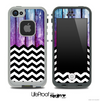 Mixed Pink/Blue Wood and Chevron Pattern Skin for the iPhone 5 or 4/4s LifeProof Case