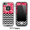 Mixed Red Paisley and Chevron Pattern Skin for the iPhone 5 or 4/4s LifeProof Case