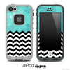 Mixed Turquoise Paisley V1 and Chevron Pattern Skin for the iPhone 5 or 4/4s LifeProof Case