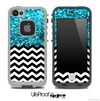 Mixed Turquoise Glimmer and Chevron Pattern Skin for the iPhone 5 or 4/4s LifeProof Case