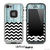 Mixed Aged Blue Wood and Chevron Pattern Skin for the iPhone 5 or 4/4s LifeProof Case