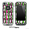 White and Green/Pink Striped Anchor Collage Skin for the iPhone 5 or 4/4s LifeProof Case