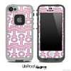 White and Subtle Pink Anchor Collage Skin for the iPhone 5 or 4/4s LifeProof Case