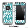 White and Turquoise Paisley Anchor Collage Skin for the iPhone 5 or 4/4s LifeProof Case