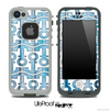 White and Aged Blue Wood Anchor Collage Skin for the iPhone 5 or 4/4s LifeProof Case