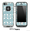 White and Textured Blue Anchor Collage Skin for the iPhone 5 or 4/4s LifeProof Case