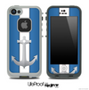 Navy and White Anchor Striped Skin for the iPhone 5 or 4/4s LifeProof Case
