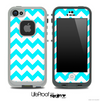 Turquoise and White Chevron Pattern Skin for the iPhone 5 or 4/4s LifeProof Case