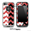 Red Floral Sprout & Black/White Chevron Pattern Skin for the iPhone 5 or 4/4s LifeProof Case