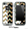 Vintage Striped & Black/White Chevron Pattern Skin for the iPhone 5 or 4/4s LifeProof Case