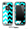 Aqua Blue & Black/White Chevron Pattern Skin for the iPhone 5 or 4/4s LifeProof Case