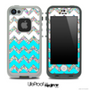 Turquoise, White and Colorful Dotted V2 Chevron Pattern Skin for the iPhone 5 or 4/4s LifeProof Case