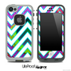 Large Chevron and Neon Peacock Skin for the iPhone 5 or 4/4s LifeProof Case