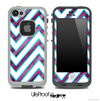 Large Chevron and Vector Grunge Purple Striped Skin for the iPhone 5 or 4/4s LifeProof Case