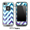 Large Chevron and Pink & Blue Wood Skin for the iPhone 5 or 4/4s LifeProof Case