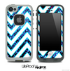 Large Chevron and Blue Sparkle V2 Skin for the iPhone 5 or 4/4s LifeProof Case