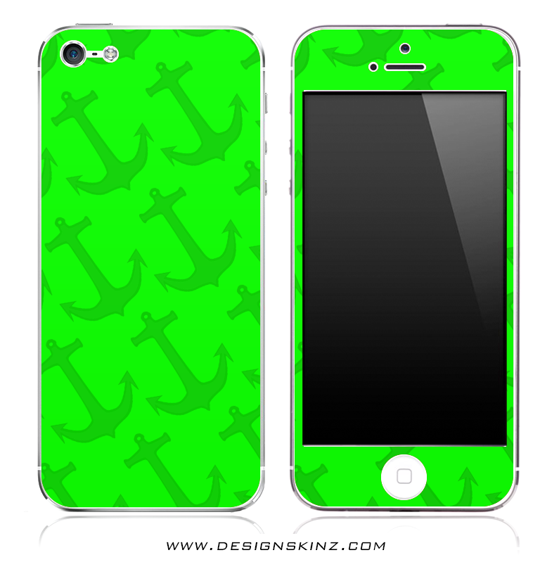 Lime Green Anchor Bundle iPhone Skin