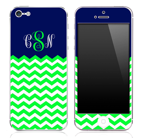 Navy And Lime Green Chevron Pattern Custom Monogram Skin for the iPhone 3, 4/4s or 5