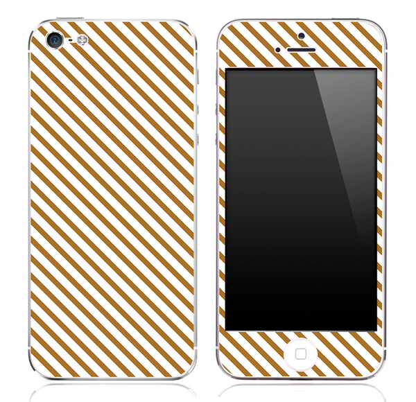 Brown Slanted Stripe Pattern Skin for the iPhone 3, 4/4s or 5