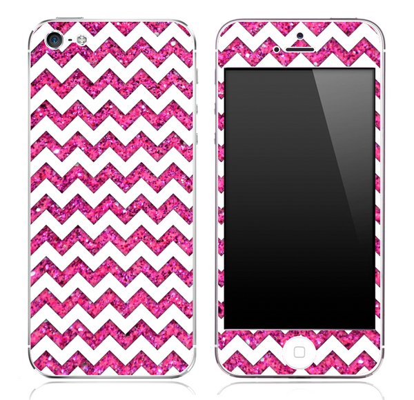Pink Print under White Chevron Pattern Skin for the iPhone 3, 4/4s or 5