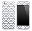 Silver Print under White Chevron Pattern Skin for the iPhone 3, 4/4s or 5