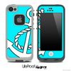 Turquoise & White Anchor Skin for the iPhone 5 or 4/4s LifeProof Case