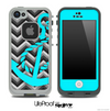 Turquoise Anchor on Black Chevron Skin for the iPhone 5 or 4/4s LifeProof Case