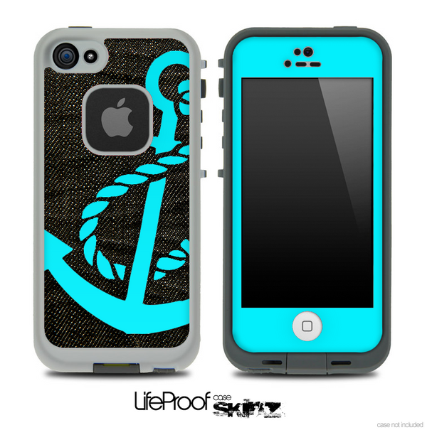 Dark Denim Turquoise Anchor Skin for the iPhone 5 or 4/4s LifeProof Case
